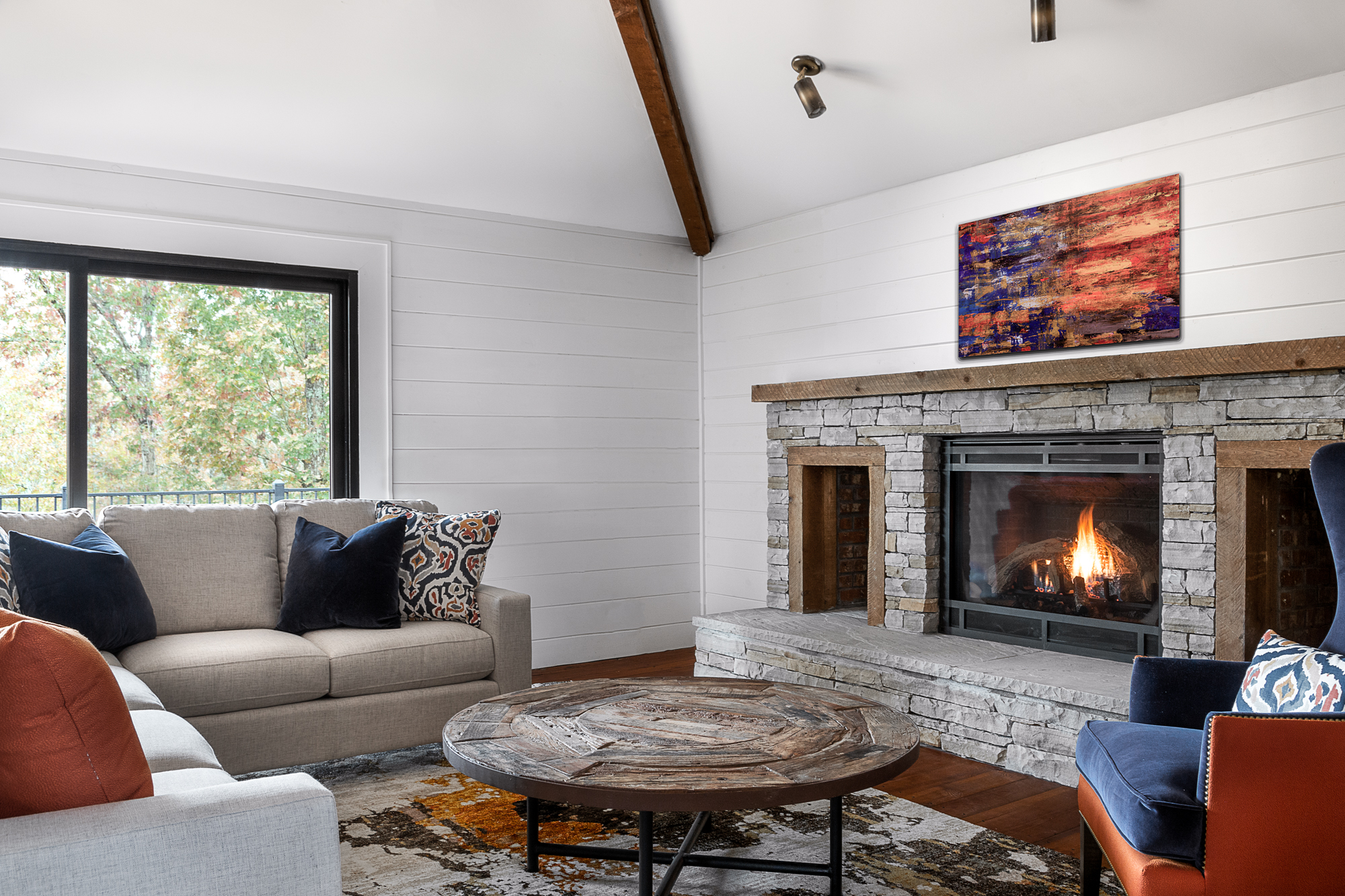 living room remodel fireplace